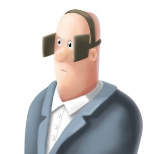 Cartoon Man with Blinders On